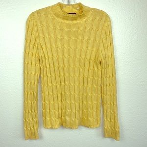 Ann Taylor Women's Sz M Yellow Cable Knit Sweater